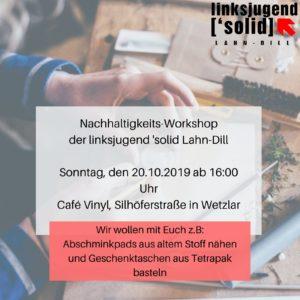 Nachhaltigkeits-Workshop Linksjugend 'solid LDK @ Cafe Vinyl
